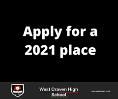 """Image may contain: text that says """"Apply for a 2021 place MAm WC HS West Craven High School www.westcraven.co.uk"""""""