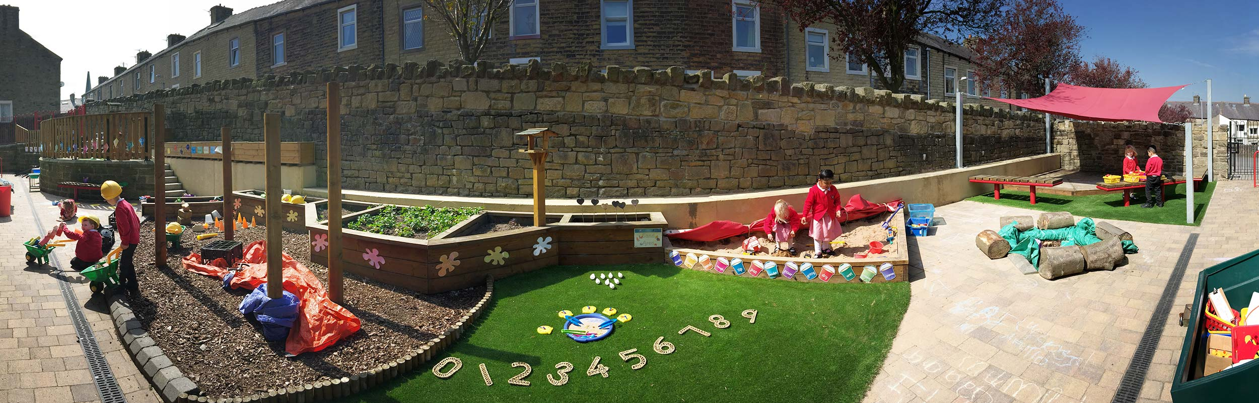 early years outdoor area panorama